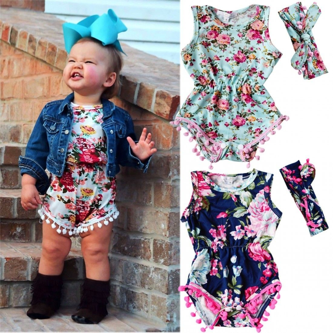 0a3b52c30cb Newborn Baby Girl Floral Romper Jumpsuit Summer Sunsuit Clothes Outfits US  Stock