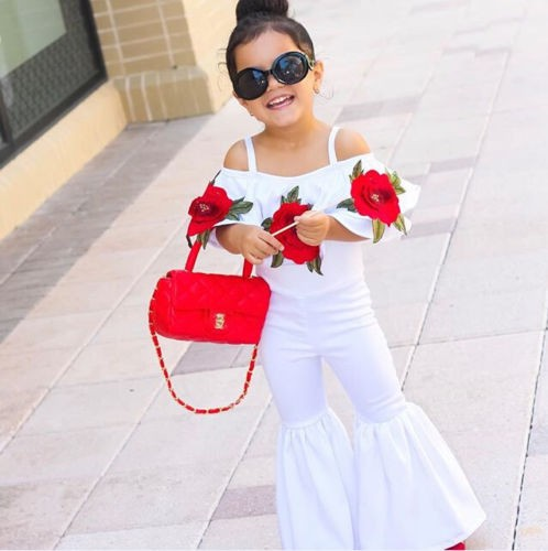 c4e62b856c35 US Kids Baby Girl Off shoulder Flower Romper Jumpsuits Trousers Outfit  Clothes T
